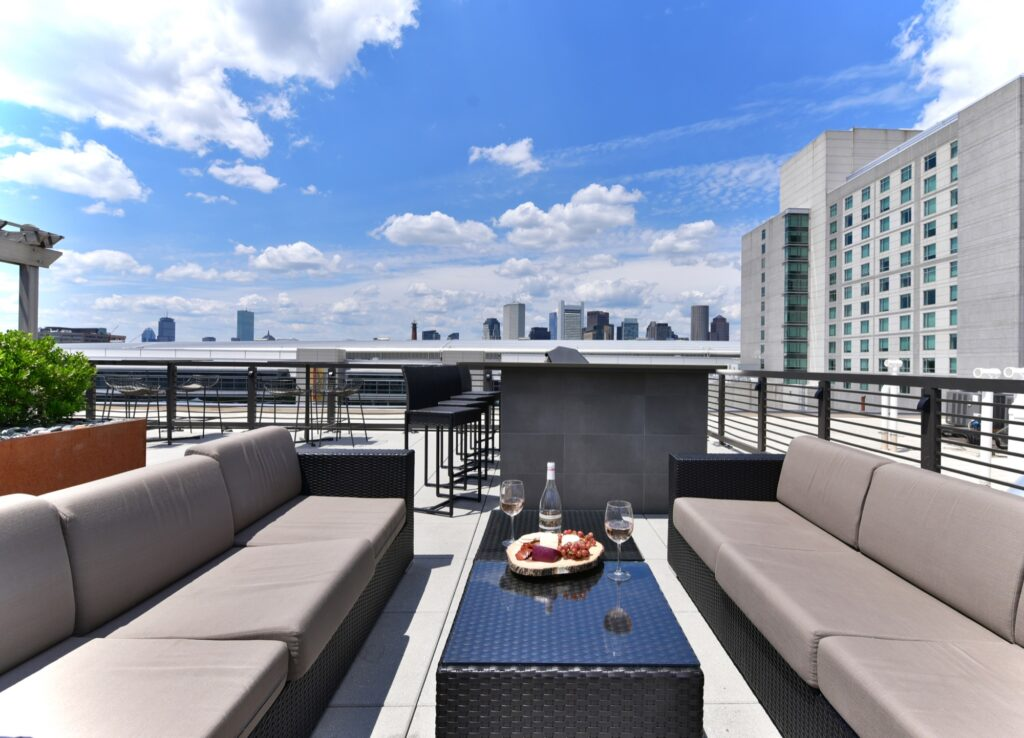 Rooftop clubroom area with community lounge seating, tables and city view. Table set with fruits and beverage