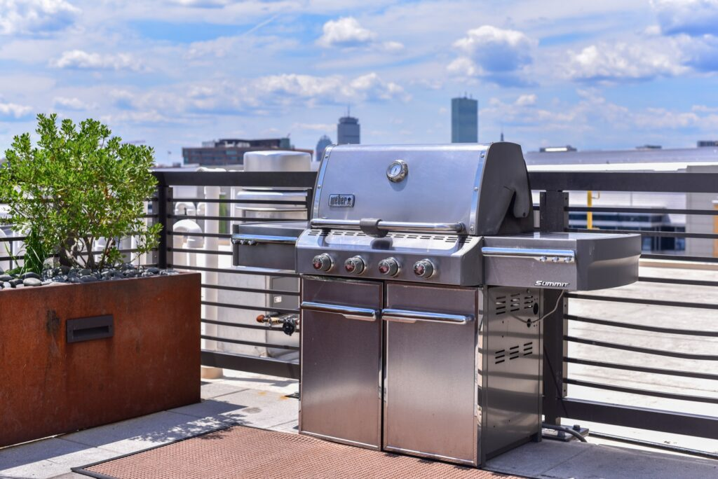 Weber Grille on rooftop with city view and plants