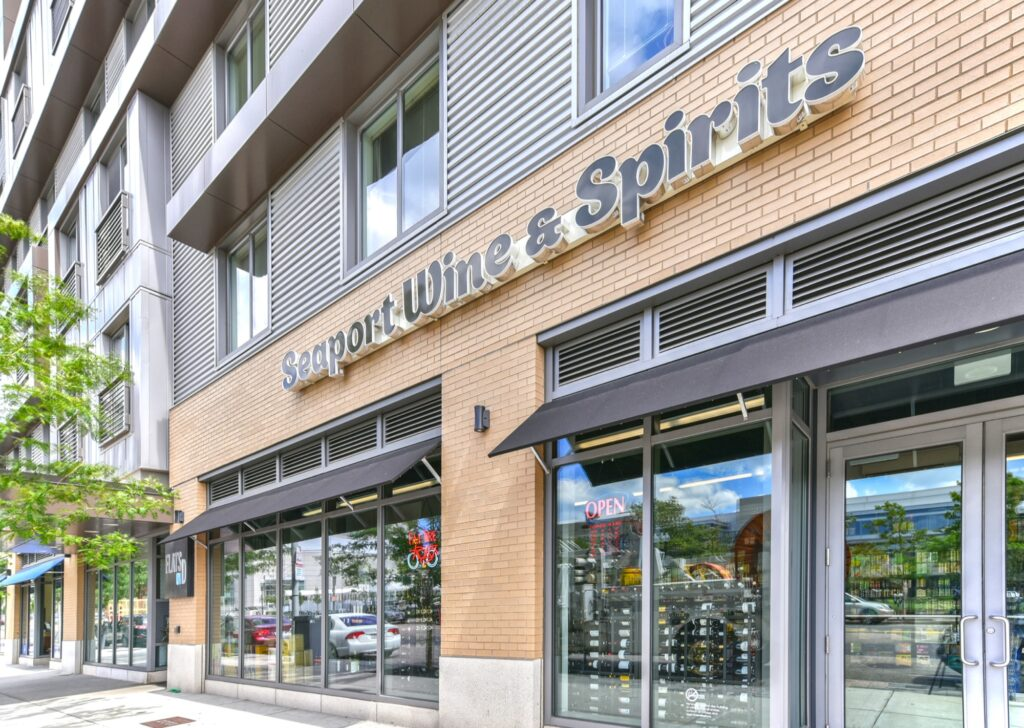 Seaport Wine and Spirits building business sign